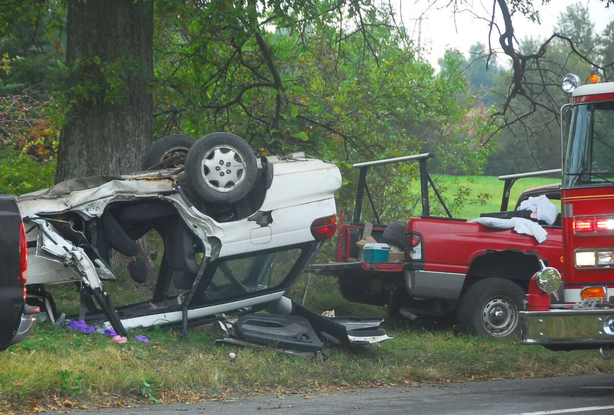 Four people were taken Albany Medical Center, two with critical injuries, following an accident involving a car and a pick-up around noon on Friday in the hamlet of West Ghent. (Lance Wheeler / Special to the Times Union)