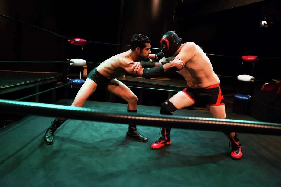 """Herman Gambhir, left, and Luis Galindo star in """"The Elaborate Entrance of Chad Deity"""" at Stages. Photo: Amitava Sarkar"""