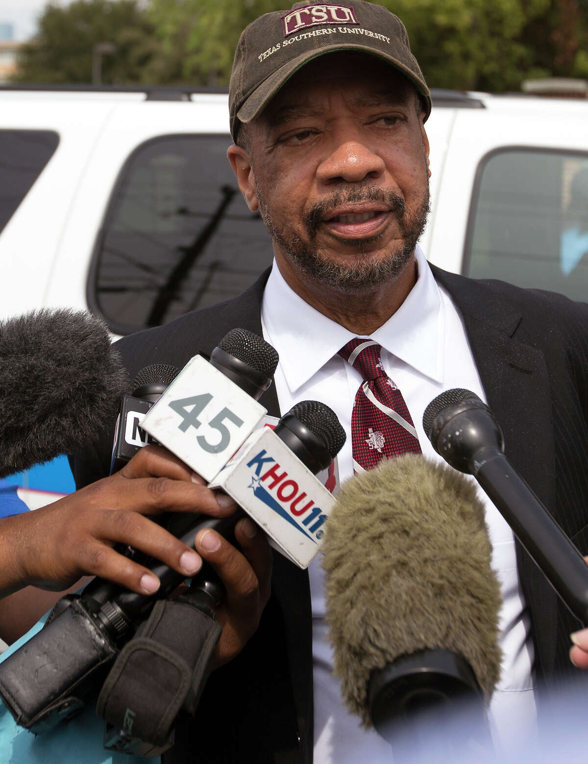"""Texas Southern University President John Rudley speaks to the media after Friday's shooting. The freshman who was shot to death was """"a beautiful young man, trying to get his life together,"""" Rudley said."""