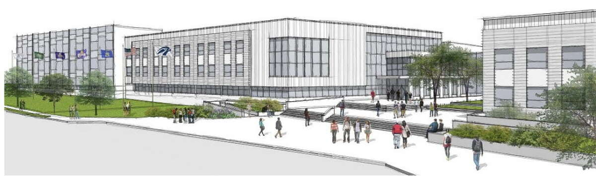 Rendering of the proposed Albany High School, which city voters will be asked to approve on Nov. 3. The proposal includes an indoor track. Tours of the school are scheduled for October.