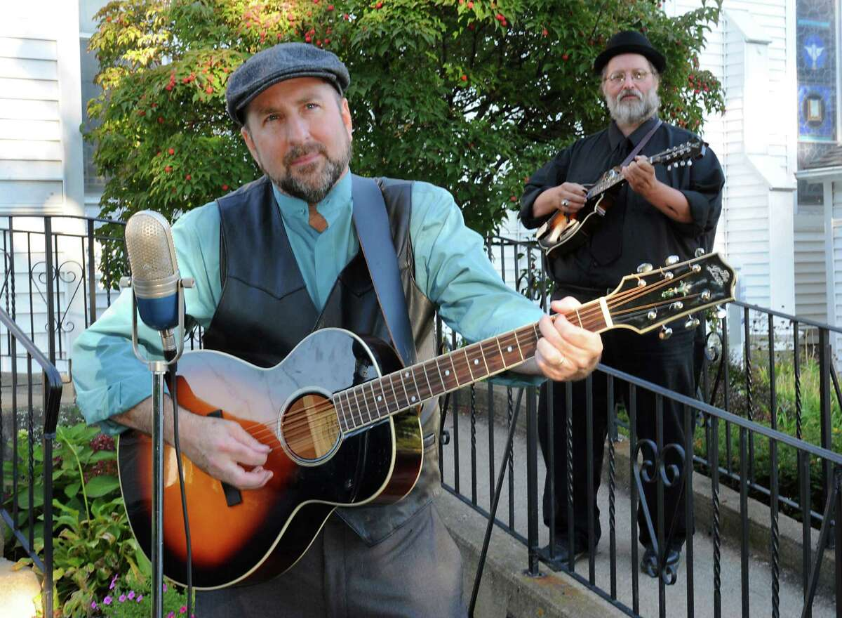 Musicians Tom Lindsay, left, and Michael Eck at Hamilton Union Presbyterian Church on Wednesday, Oct. 7, 2015 in Guilderland, N.Y. The duo called Lost Radio Rounders will perform at the Hamilton Union Church on Friday, Oct. 16. (Lori Van Buren / Times Union)