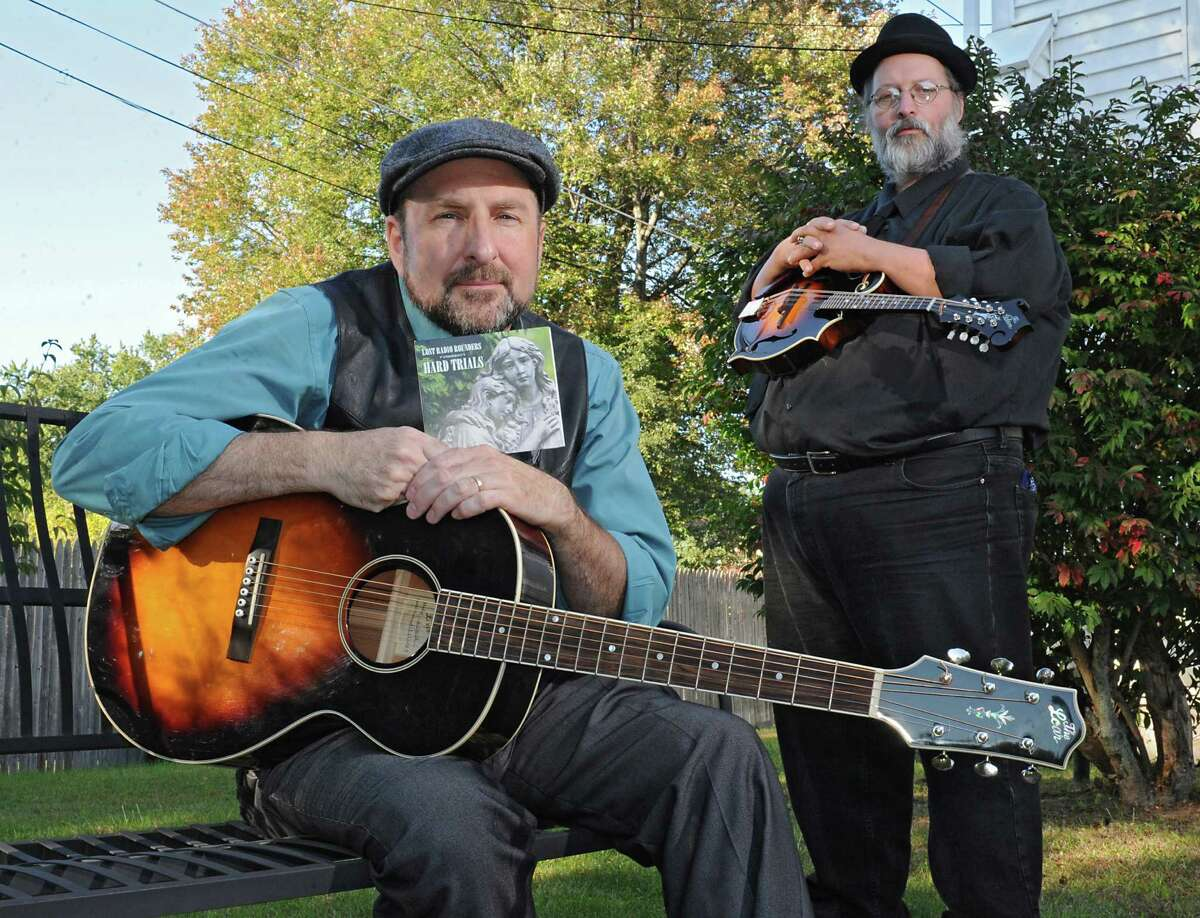 Musicians Tom Lindsay, left, and Michael Eck, who perform as duo called Lost Radio Rounders, are among the nominees for Folk/Traditional Artist of the Year for the Capital Region Thomas Edison Music Awards, being given out in April in a ceremony at Proctors. (Lori Van Buren/Times Union)