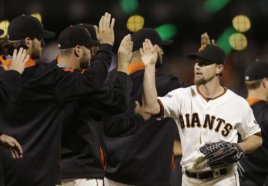 Mike Leake, right, struggled at times after being acquired by the Giants, but the pending free agent finished his season with a two-hit shutout of the Dodgers on Sept. 30. Photo: Ben Margot, Associated Press
