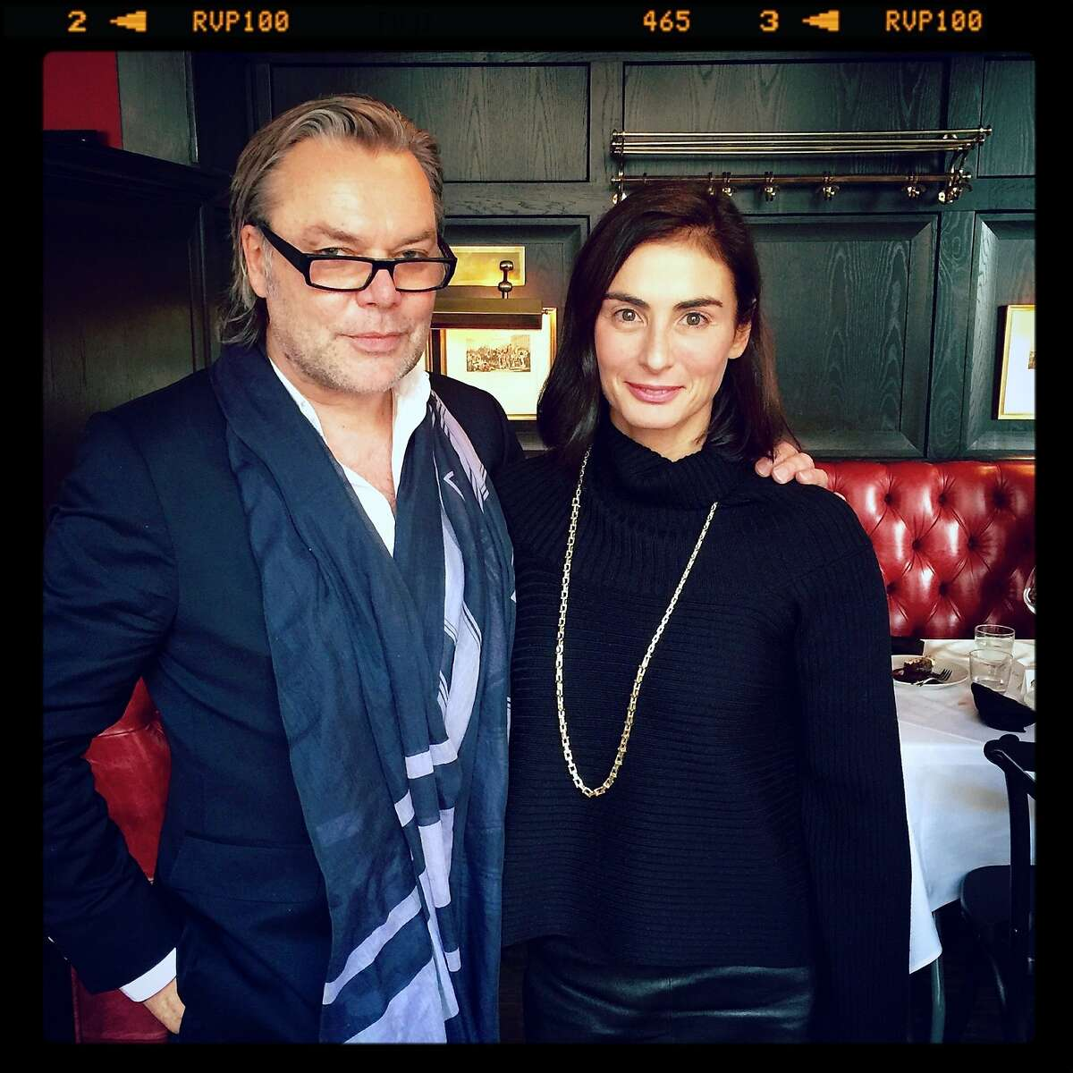 """Fashion illustrator David Downton with new Tiffany Design Director Francesca Amfitheatrof (a Vanity Fair Best Dressed Lister) at The Cavalier for a Denise Hale lunch celebrating Downton's new book, """"Portraits of the World's Most Stylish Women."""" Oct 2015."""