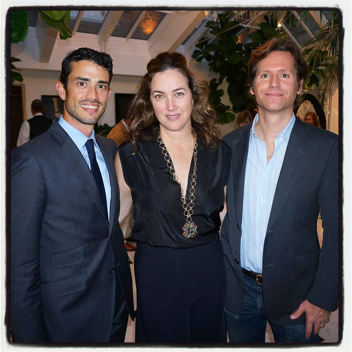 Tiffany SF GM Federico Sandino (left) with Alexis Traina and her husband, IfOnly founder Trevor Traina at a launch for the new luxe CT60 Tiffany watch collection. Oct 2015.
