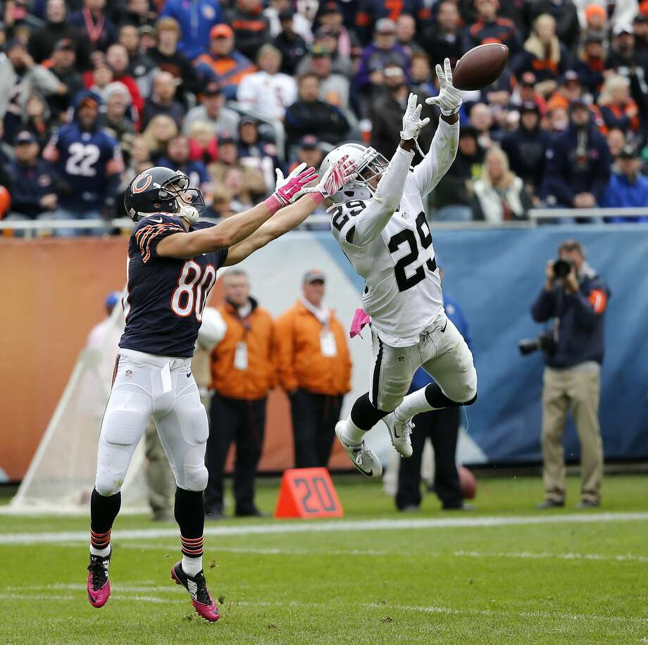 Oakland Raiders cornerback David Amerson (29) breaks up a pass intended for Chicago Bears wide receiver Marc Mariani (80) during the second half of an NFL football game, Sunday, Oct. 4, 2015, in Chicago. (AP Photo/Charles Rex Arbogast) Photo: Charles Rex Arbogast, Associated Press