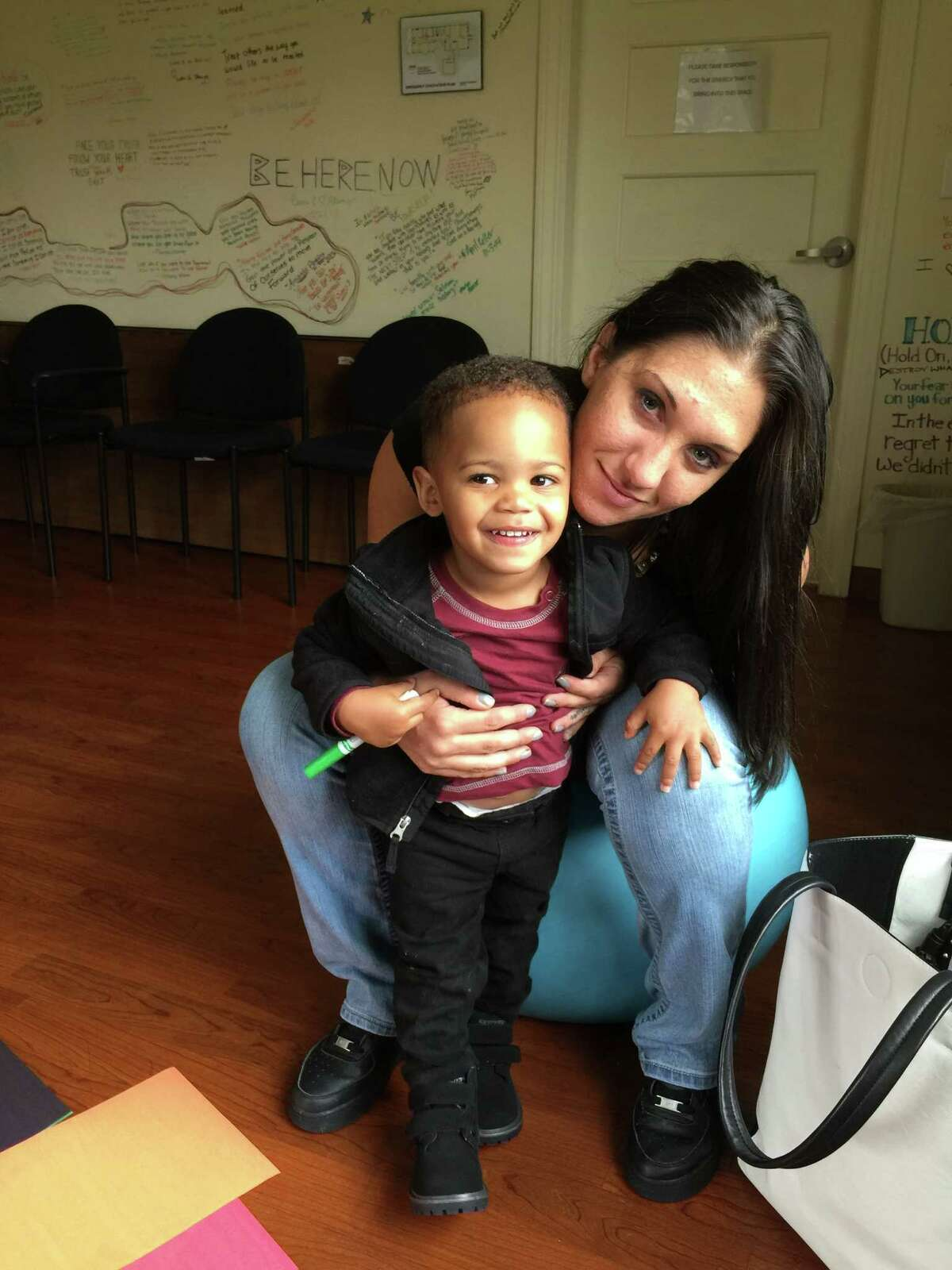 Jayden and Monika Spearman during a recent visit at The Next Step. (Provided)