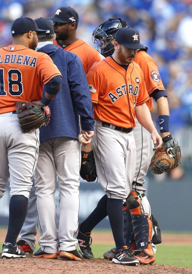 Houston Astros starting pitcher Scott Kazmir (26) walks off the mound after being taken from the game against the Kansas City Royals during the sixth inning of Game 2 of the American League Division Series at Kauffman Stadium on Friday, Oct. 9, 2015, in Kansas City. ( Karen Warren / Houston Chronicle ) Photo: Karen Warren, Houston Chronicle