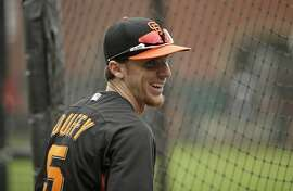 San Francisco Giants third baseman Matt Duffy before the start of their baseball game against the San Diego Padres Saturday, Sept. 12, 2015, in San Francisco. (AP Photo/Eric Risberg)