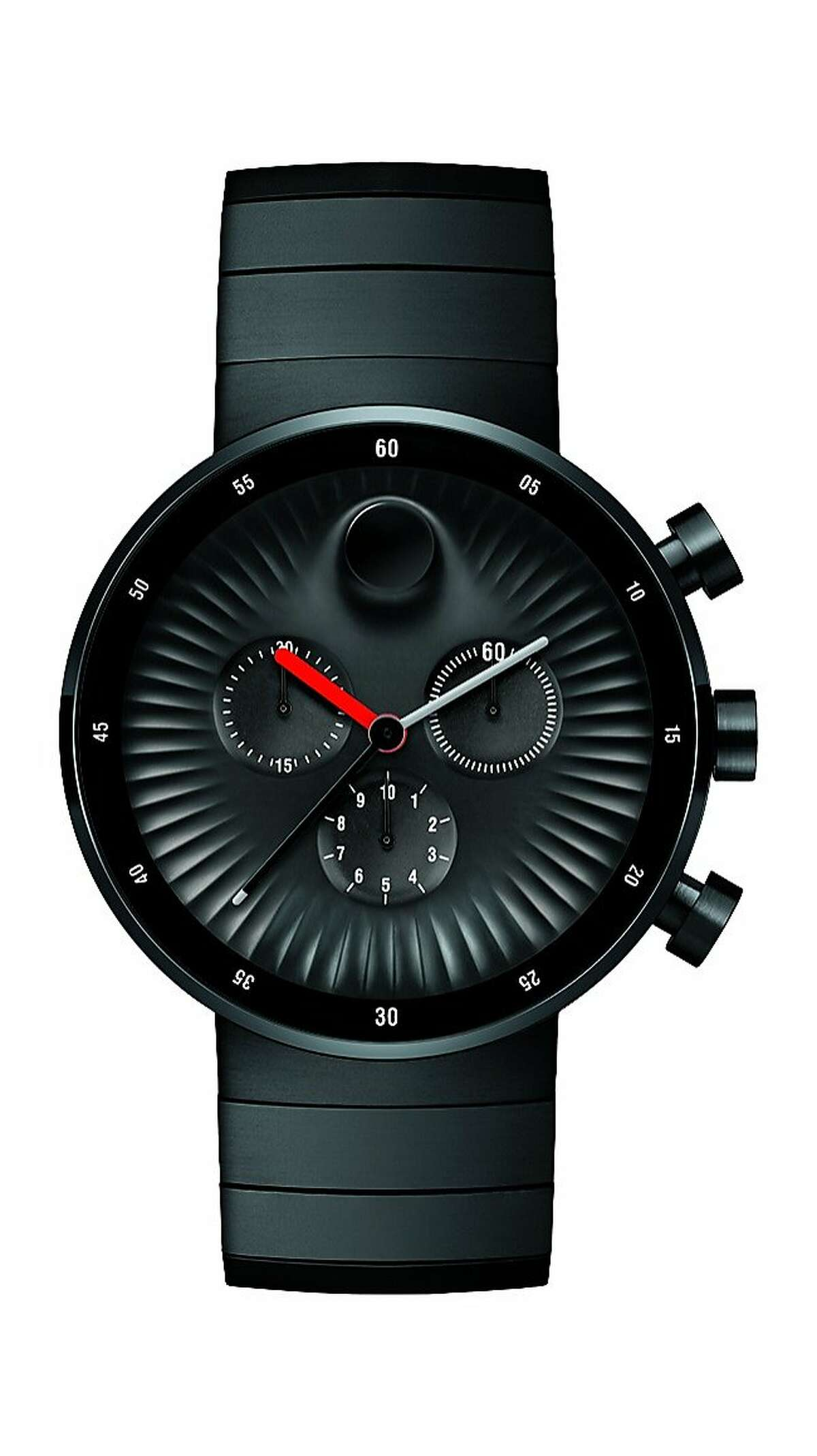 Swiss watchmaker Movado and industrial designer Yves Behar have collaborated on a new timepiece collection called Movado Edge.(( FOLLOWED BY INDIVIDUAL DETAILS BELOW.)) Name: Movado Edge SKU: 3680011 Materials: 42 mm black PVD-finished stainless steel case, concave sandblasted black aluminum dial with raised polished tonal dot, sculpted ray-textured edge, Arabic minute ring, 3 glossy black timing subdials, matte red hour/glossy gray minute/black seconds hands, brushed black PVD-finished stainless steel link bracelet with push-button deployment clasp. Price: $1195. Credit: Movado