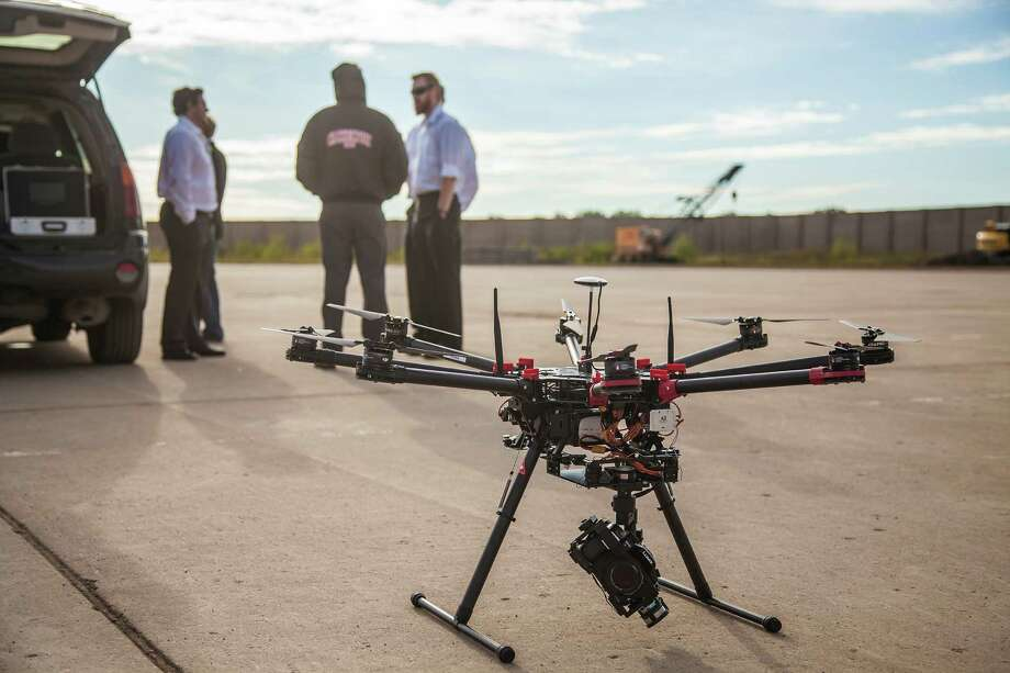 Crews prepare to launch an octocopter as part of a celebratory groundbreaking  at Grand Sky, the drone park near Grand Forks, N.D. Photo: Courtesy Photos