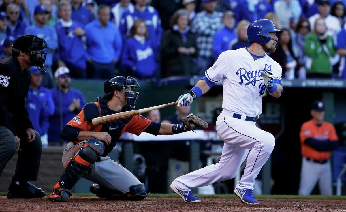 Kansas City Royals' Ben Zobrist hits an RBI single to score Alcides Escobar during the seventh inning of Game 2 in baseball's American League Division Series against the Houston Astros, Friday, Oct. 9, 2015, in Kansas City, Mo. (AP Photo/Charlie Riedel) ORG XMIT: MOCN167