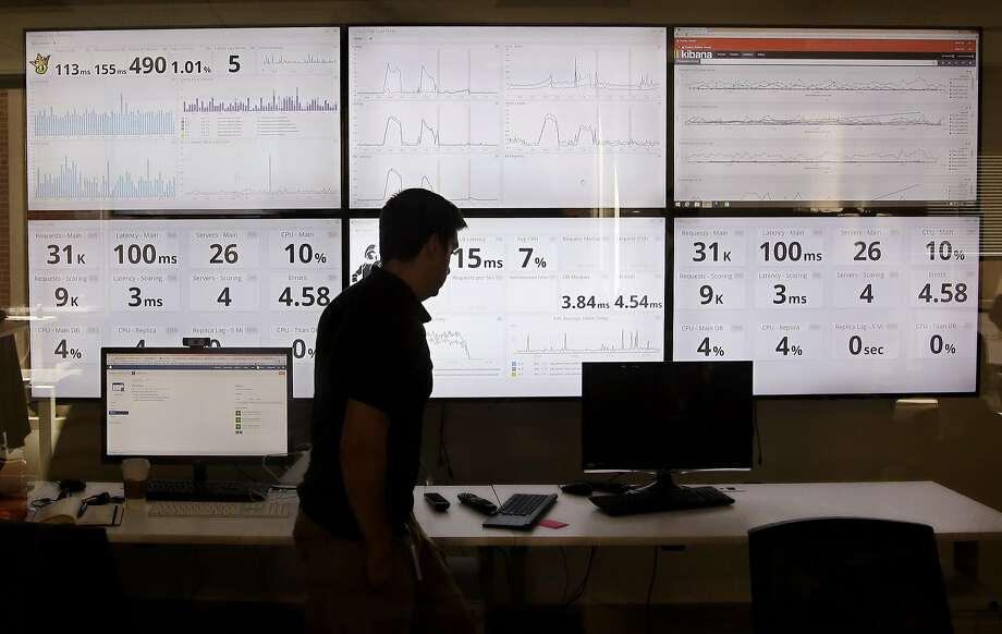 An employee in the software development department of DraftKings, walks past screens displaying the company's online system stats in Boston. Photo: Stephan Savoia, Associated Press