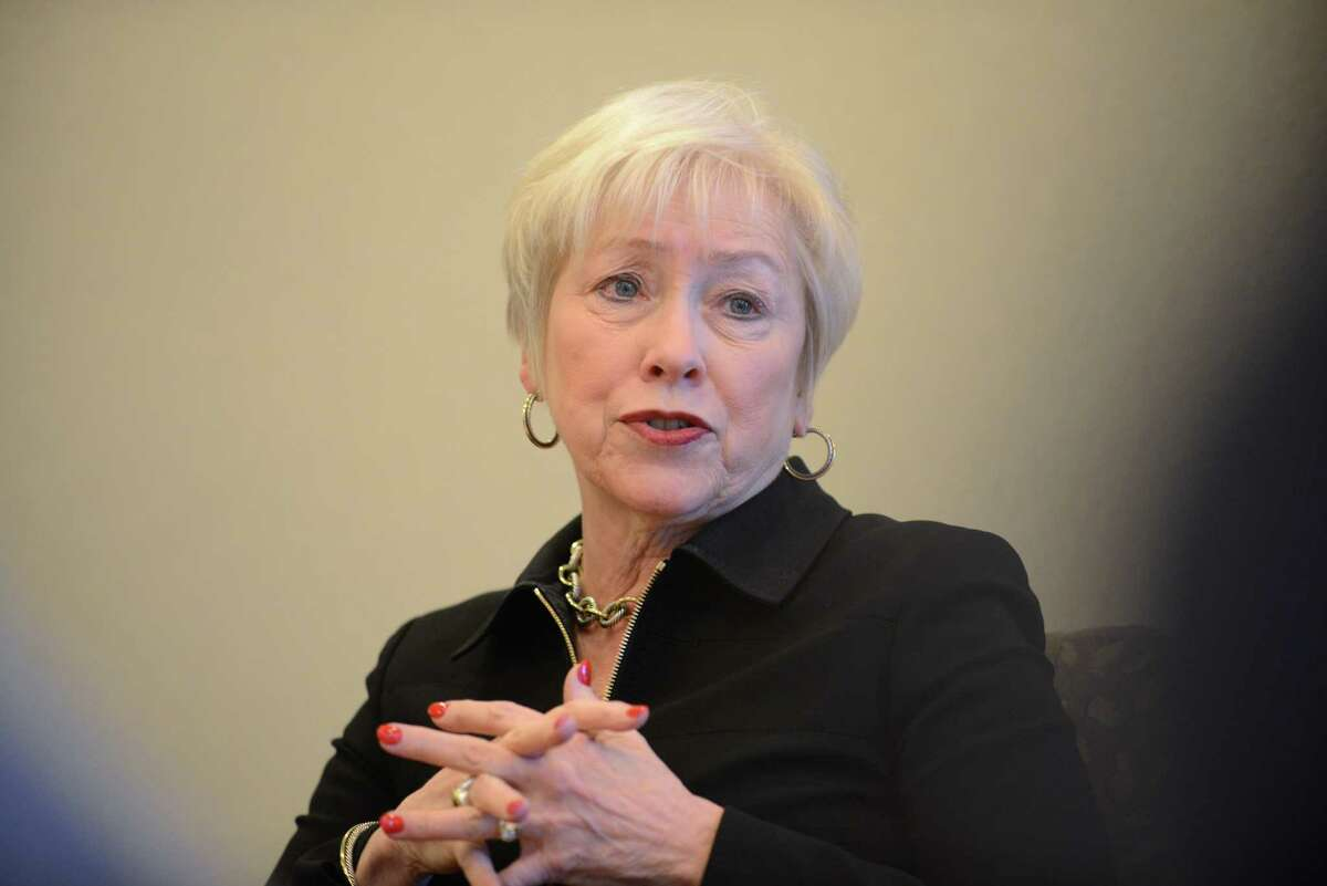 SUNY Chancellor Nancy Zimpher answers questions during a Times Union editorial board meeting Thursday, March 19, 2015, in Colonie, N.Y. (Will Waldron/Times Union)