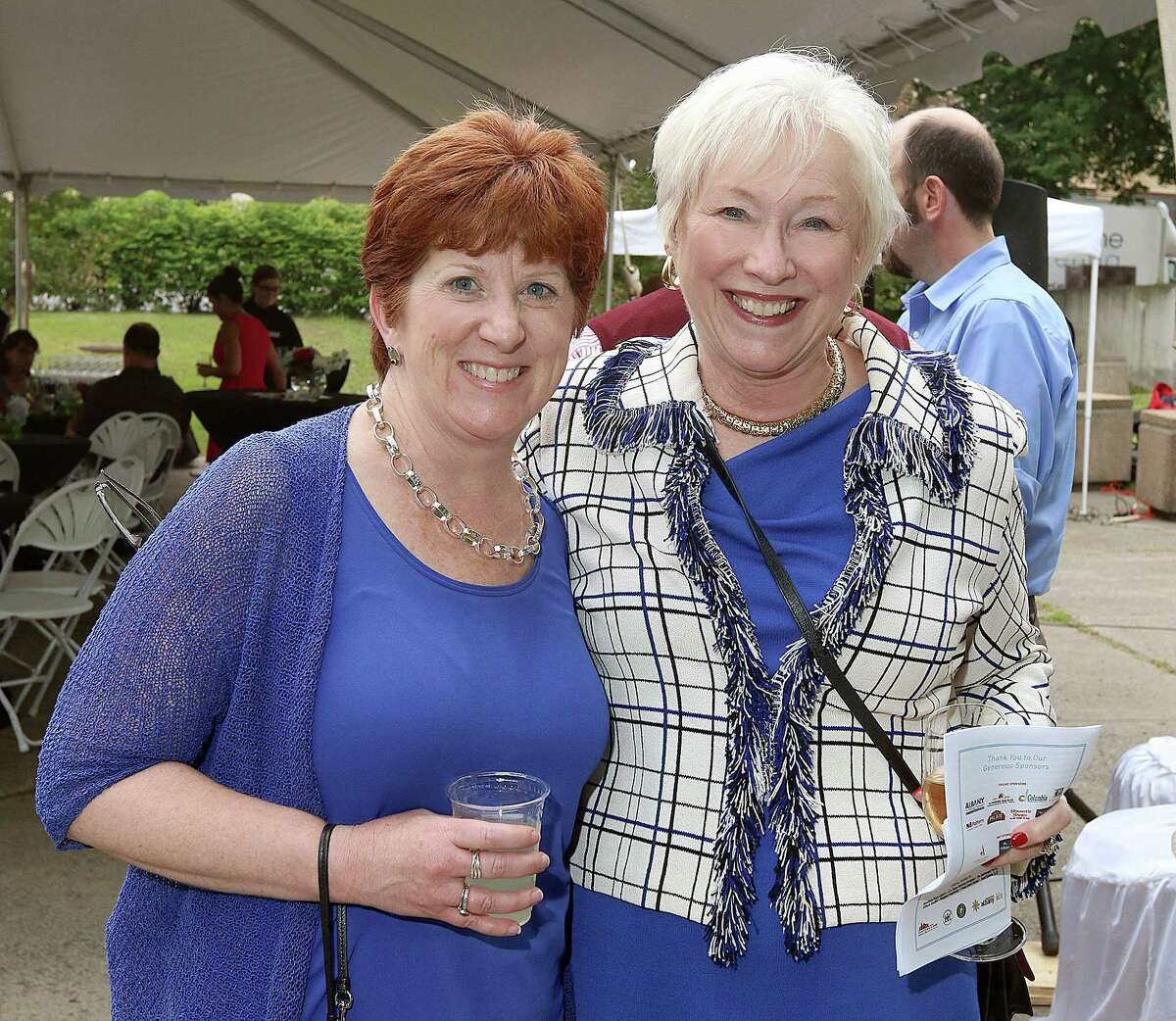 Albany, NY - June 12, 2015 - (Photo by Joe Putrock/Special to the Times Union) - Albany Mayor Kathy Sheehan(left) poses with State University of New York Chancellor Nancy Zimpher(right) during the Downtown Albany Business Improvement District's Downtown Garden Party and #captureALB launch honoring Park Playhouse producing artistic director and Palace Theatre managing director Owen Smith in Federal Plaza Park in downtown Albany. ORG XMIT: 01