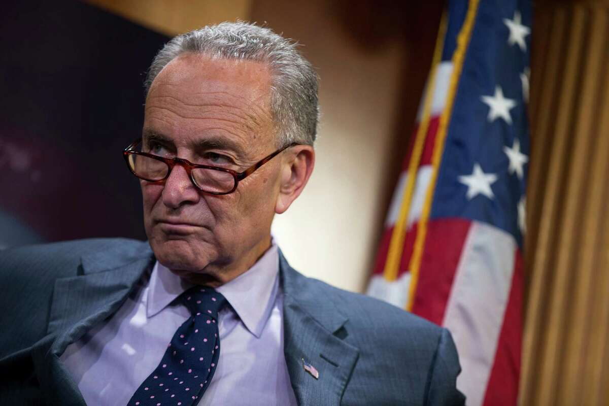 Sen. Charles Schumer, D-N.Y. listens during a news conference about legislation on Iran policy and Middle East security, Thursday, Oct. 1, 2015, on Capitol Hill in Washington. (AP Photo/Evan Vucci) ORG XMIT: DCEV104