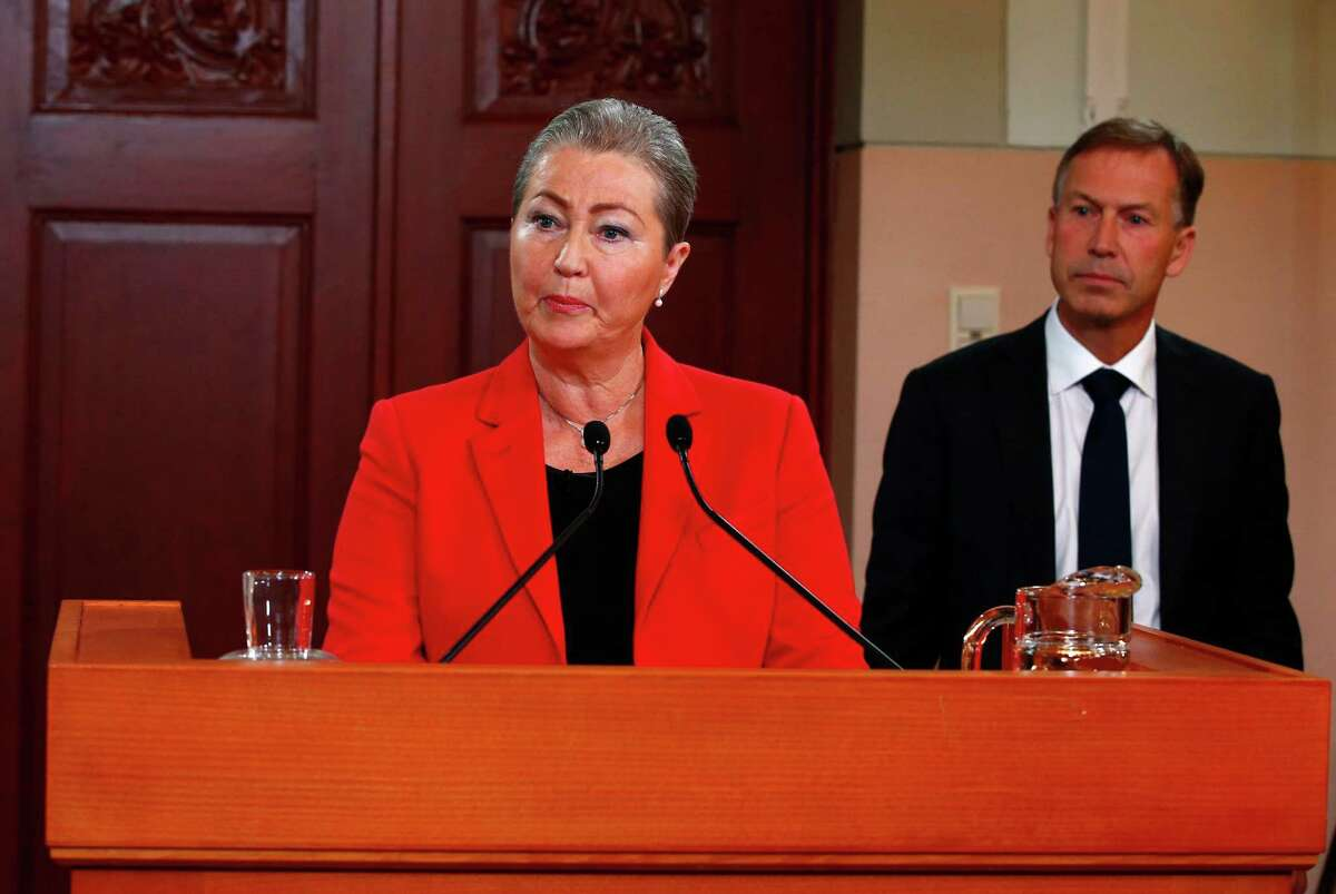 Kaci Kullmann Five, the new head of the Norwegian Nobel Peace Prize Committee, announces the winner of 2015 Nobel peace prize during a press conference in Oslo, Norway, Friday Oct. 9, 2015. The Norwegian Nobel Committee announced Friday that the 2015 Nobel Peace Prize was awarded to the Tunisian National Dialogue Quartet. (Heiko Junge/NTB scanpix via AP) NORWAY OUT ORG XMIT: TH801