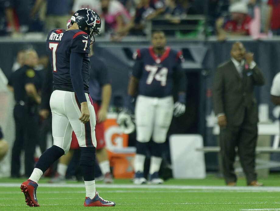 Houston Texans quarterback Brian Hoyer (7) walks off the field after throwing an interception to Indianapolis Colts strong safety Mike Adams during the fourth quarter of an NFL football game at NRG Stadium on Thursday, Oct. 8, 2015, in Houston. ( Brett Coomer / Houston Chronicle ) Photo: Brett Coomer, Staff / © 2015  Houston Chronicle
