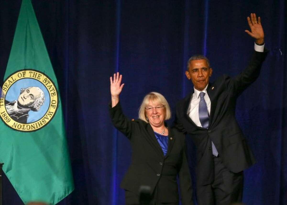 In happier times, President Obama and Sen. Patty Murray, D-Wash., at the Westin hotel in downtown Seattle, Oct. 9, 2015. Photo by Joshua Trujillo, SeattlePI.com