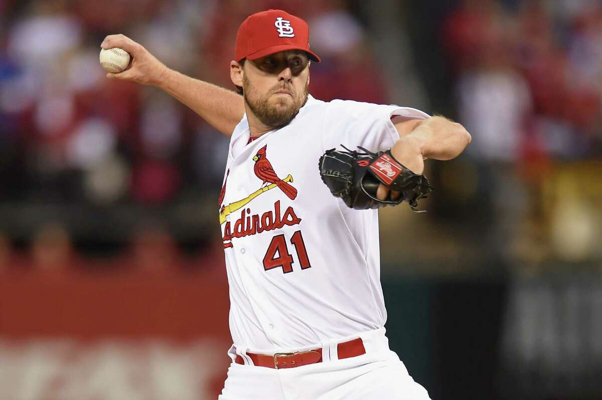 ST LOUIS, MO - OCTOBER 09: John Lackey #41 of the St. Louis Cardinals throws a pitch in the first inning against the Chicago Cubs during game one of the National League Division Series at Busch Stadium on October 9, 2015 in St Louis, Missouri. (Photo by Michael B. Thomas/Getty Images) ORG XMIT: 584226585