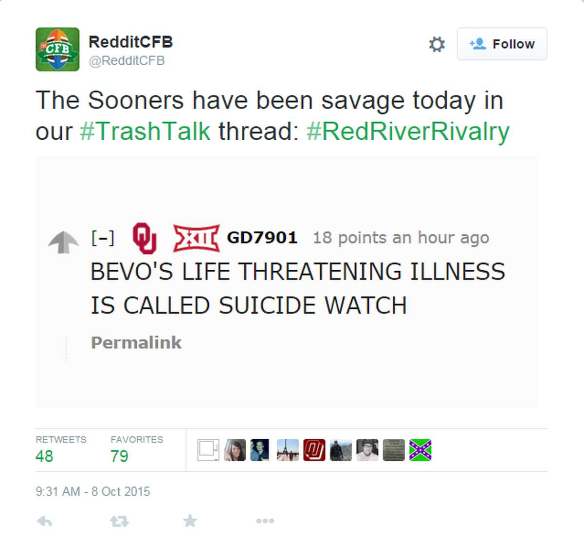 As you'll see, Sooners fans have no qualms about going after BEVO.