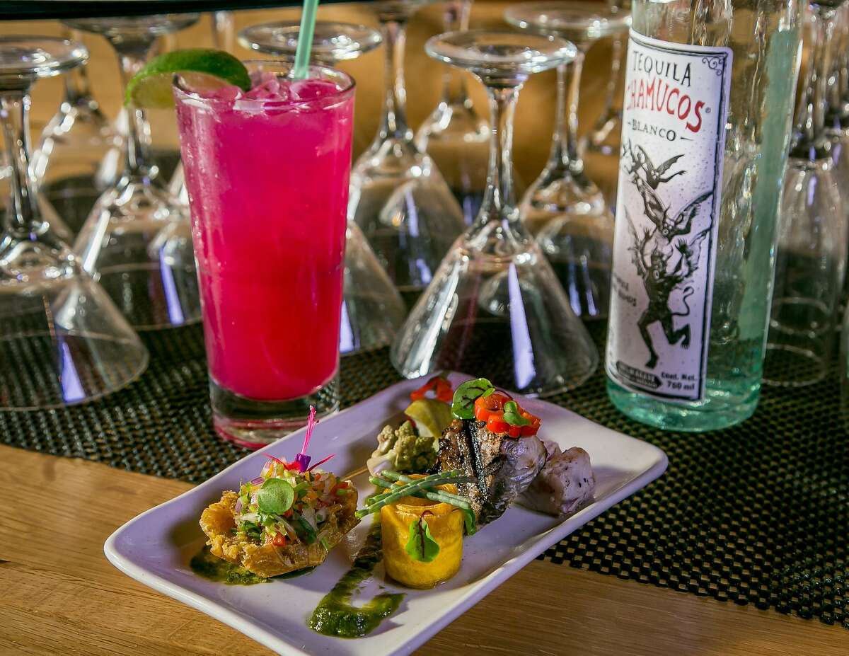 """""""Catch of the Day"""" with Bonito and a Cactus Margarita at Coco Frio in San Francisco, Calif. is seen on Thursday, October 8th, 2015."""