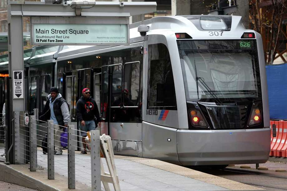 Houston's light rail system began operating in 2004, but has not been notably successful. While Harris County's population grew through 2014, transit ridership decreased.  Photo: Gary Coronado, Staff / © 2015 Houston Chronicle
