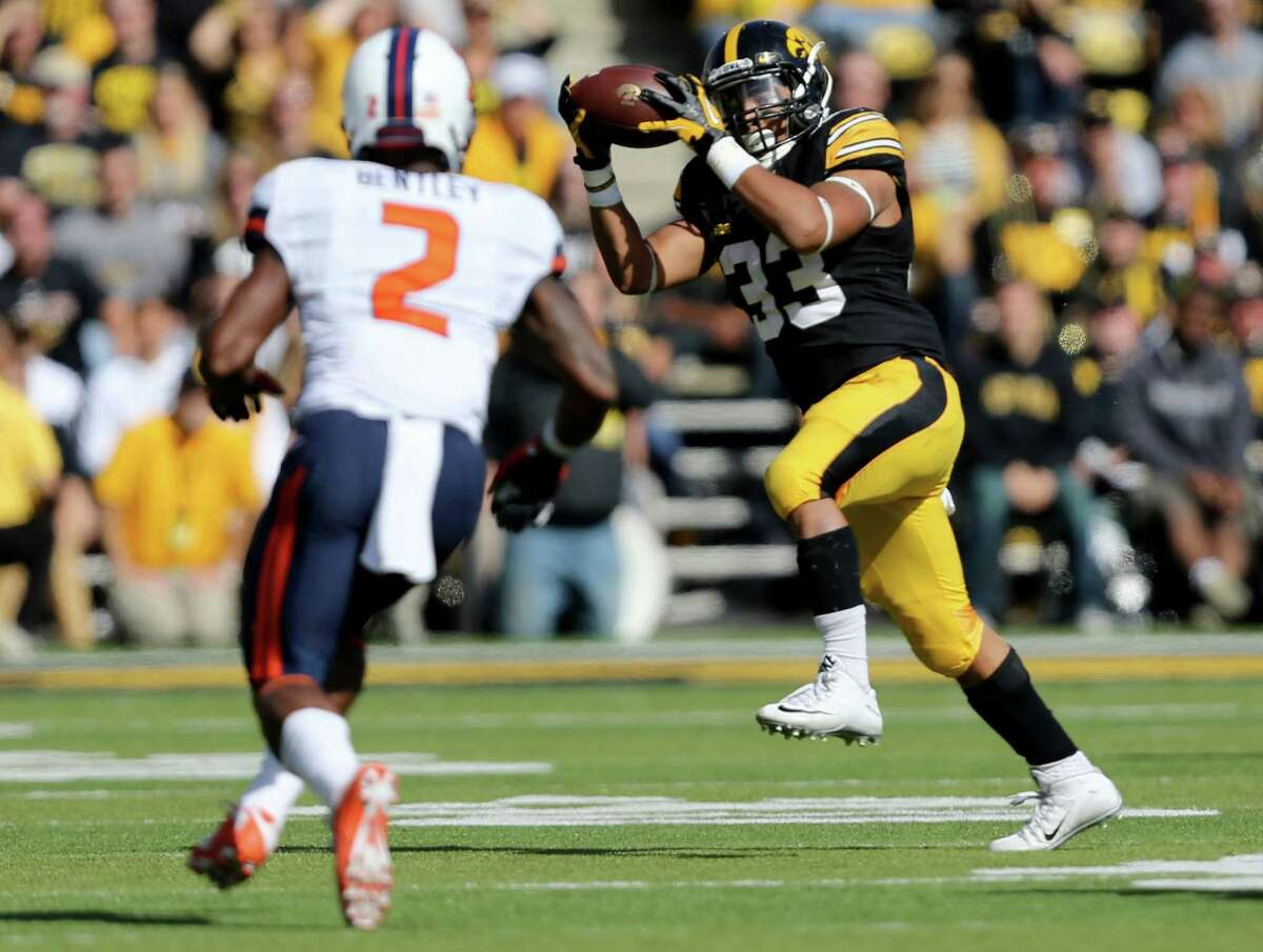 Iowa running back Jordan Canzeri catches a pass during the first half of an NCAA college football game against Illinois, Saturday, Oct. 10, 2015, in Iowa City, Iowa. (AP Photo/Justin Hayworth) ORG XMIT: IAJH104