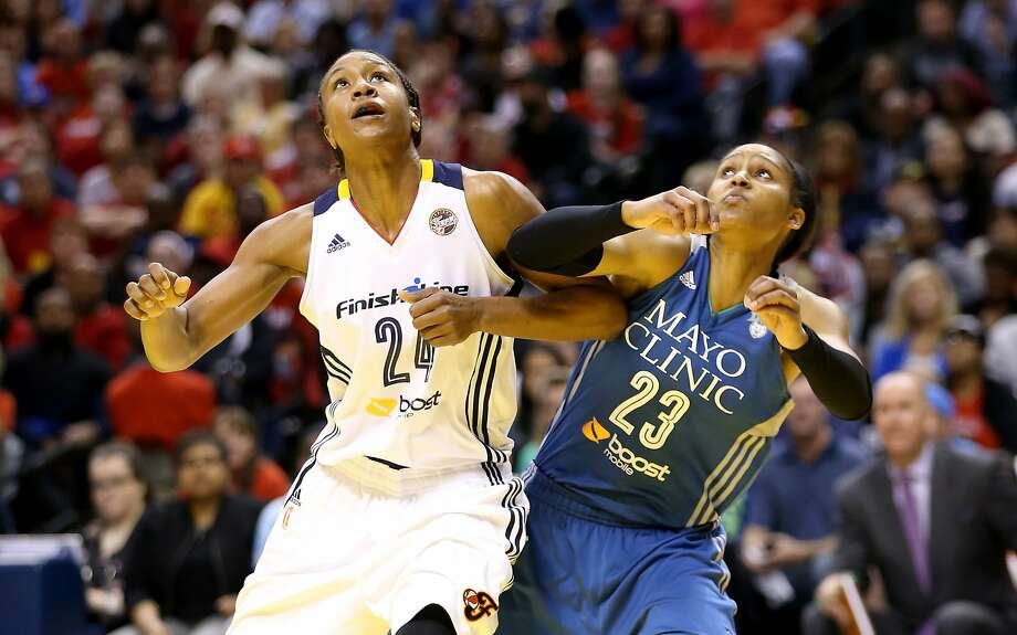 Indiana's Tamika Catchings (left) and Minnesota's Maya Moore are looking for a WNBA title. Photo: Andy Lyons, Getty Images