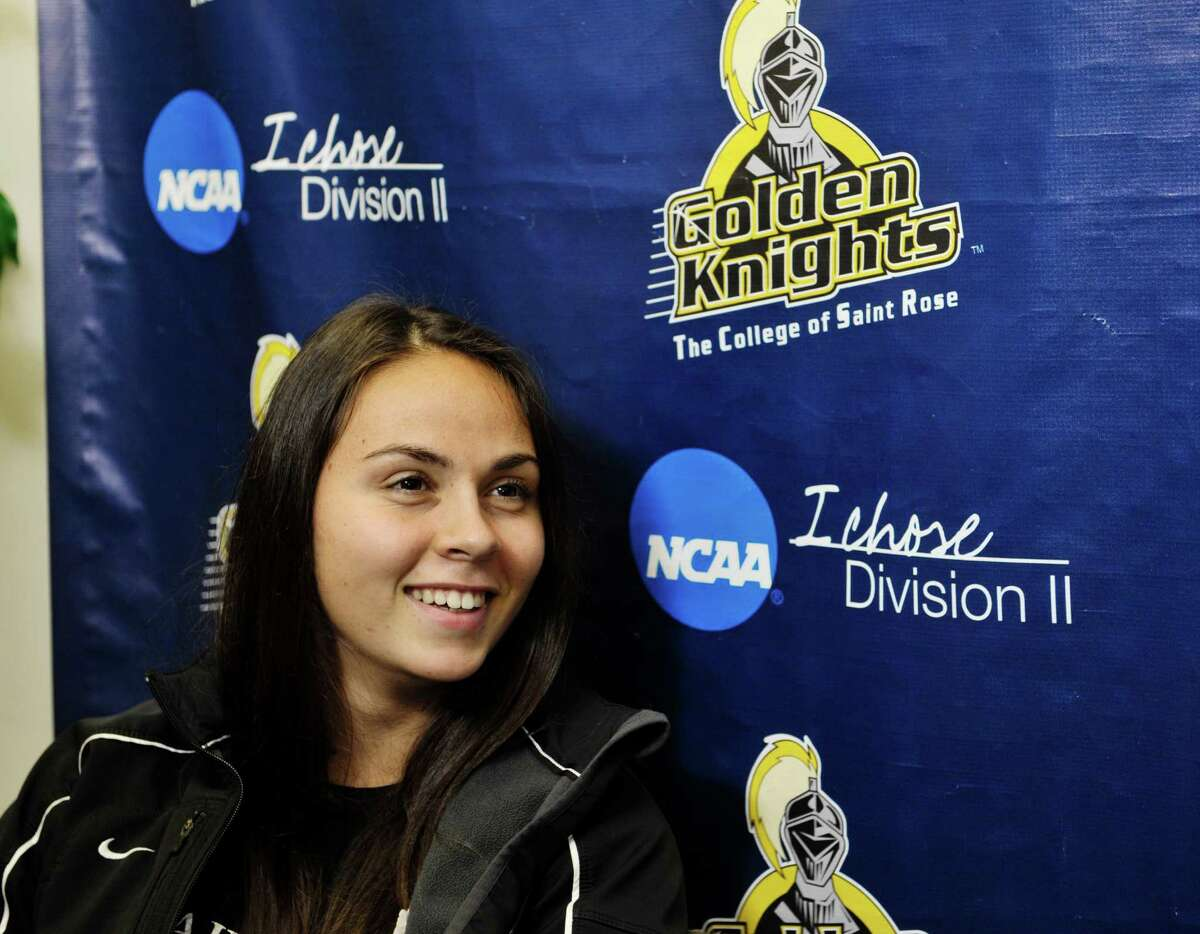 The College of Saint Rose women's soccer player Danae Kaldaridou talks about her experiences being in America during an interview on Monday, Oct. 5, 2015, in Albany, N.Y. (Paul Buckowski / Times Union)