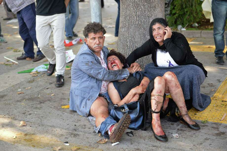 At least 95 people were killed and 248 were injured Saturday in explosions at Turkey's capital, Ankara, ahead of an anti-government peace rally.  Photo: ADEM ALTAN, Stringer / AFP