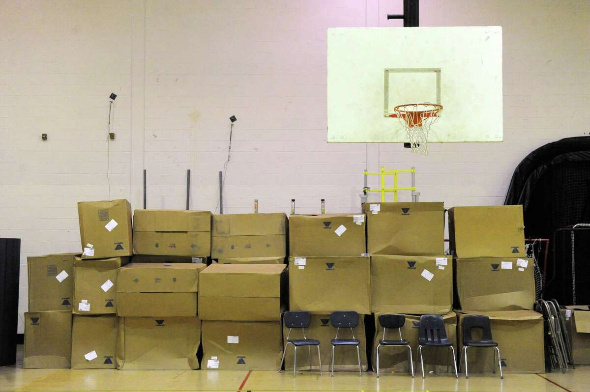 A scondary gym is used for storage seen during the re-imagining Albany High School School tour on Saturday Oct. 10, 2015 in Albany, N.Y. (Michael P. Farrell/Times Union)