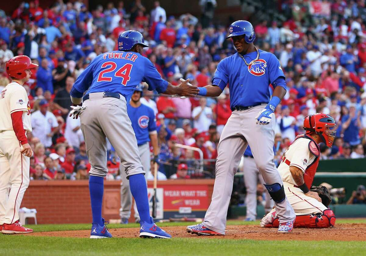 ST LOUIS, MO - OCTOBER 10: Jorge Soler #68 of the Chicago Cubs celebrates with Dexter Fowler #24 of the Chicago Cubs after hitting a two-run home run in the second inning against the St. Louis Cardinals during game two of the National League Division Series at Busch Stadium on October 10, 2015 in St Louis, Missouri. (Photo by Dilip Vishwanat/Getty Images) ORG XMIT: 584227061