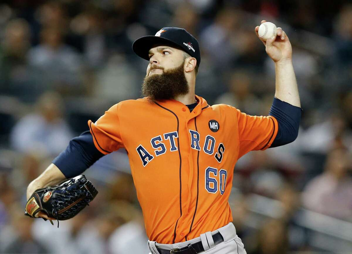 Houston Astros starting pitcher Dallas Keuchel pitches in the first inning of the American League wild card baseball game against the New York Yankees at Yankee Stadium in New York, Tuesday, Oct. 6, 2015. (AP Photo/Kathy Willens) ORG XMIT: NYY108