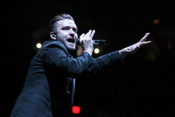 Singer Justin Timberlake performs at the AT&T Center as part of his 20/20 Experience World Tour on Tuesday, August 5, 2014. (Kin Man Hui/San Antonio Express-News)
