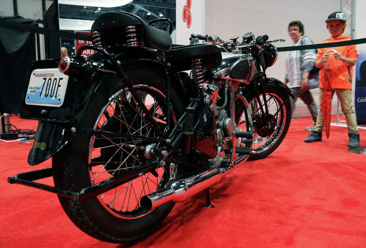 A 1946 Norton Model 18 motorcycle is shown during the Seattle Auto Show at CenturyLink Field Events Center. The Seattle Auto Show continues through October 11th. Photographed on Wednesday, October 10, 2015.
