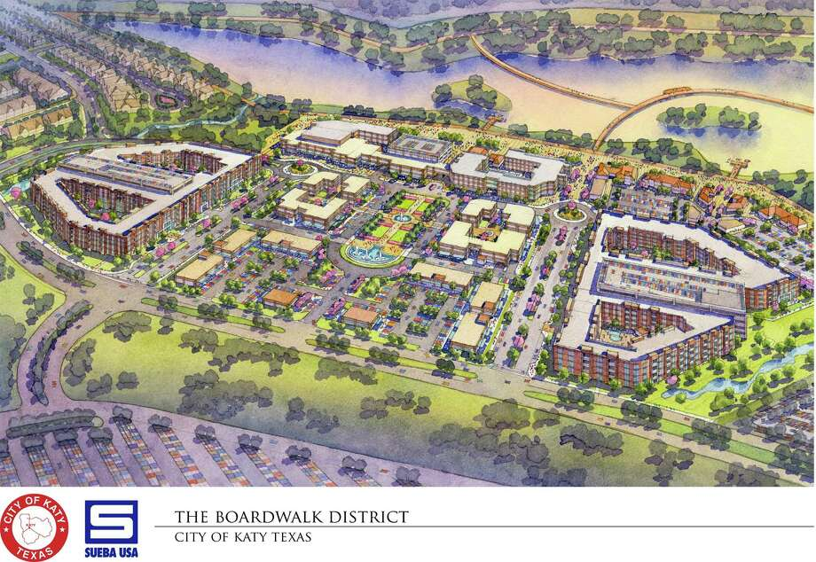 Katy's boardwalk project, which will be located next to Katy Mills Mall, will feature a hotel, a 55,000-square-foot convention center, a retail plaza and an estimated 2.5-mile path across an 80-foot pond.  Photo: Sebastian Herrera / handout