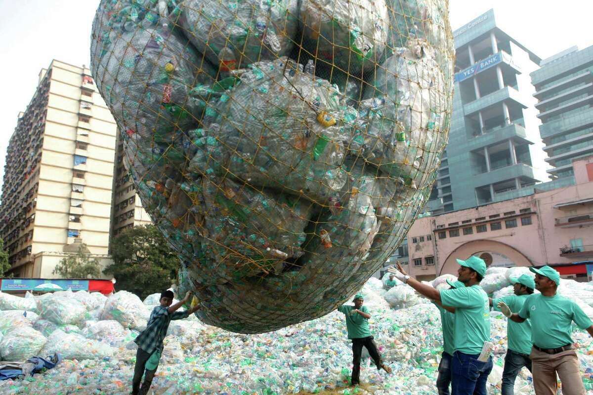 Bisleri conducts India's largest drive of collecting of used plastic bottles for Swachh Bharat campaign at Kamgar Maidan, over 2 lakh students of 100 schools participated in this used plastic bottle collection, on October 4, 2015 in Mumbai, India. The brand has joined hands with close to 100 schools to create awareness amongst students, teachers and parents on the indispensable role of PET bottles in our lives and the need for effective PET recycling.