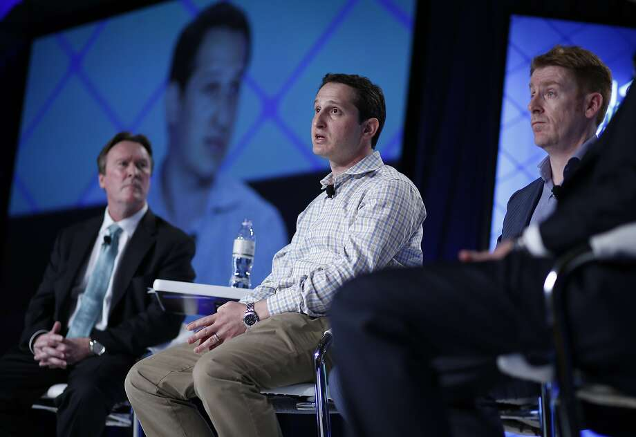 Jason Robins, center, CEO of DraftKings, speaks on a Sept. 29, 2015, panel at the Global Gaming Expo in Las Vegas. Photo: John Locher, Associated Press