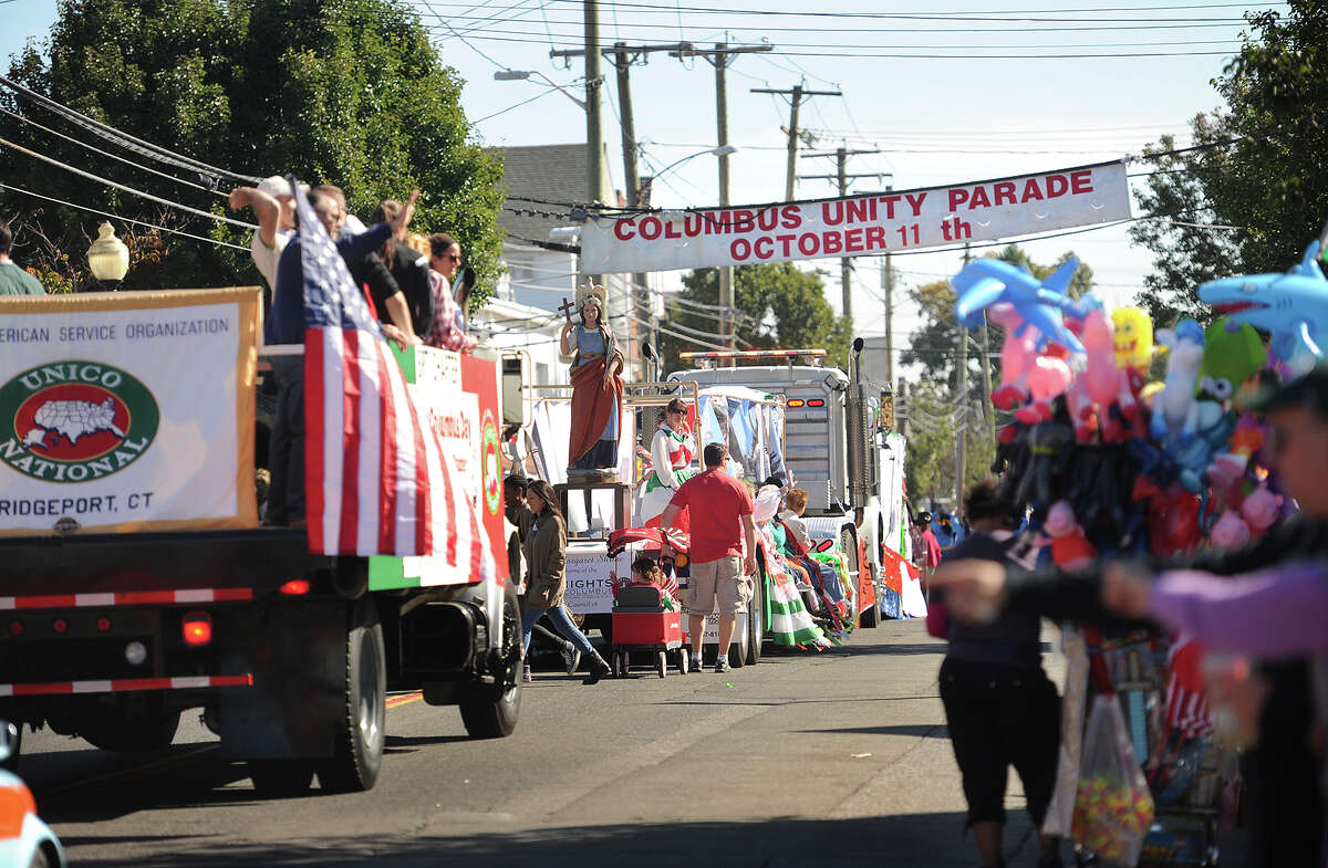 The 2015 Columbus Day Parade makes its way down Madison Avenue in Bridgeport, Conn. on Sunday, October 11, 2015.