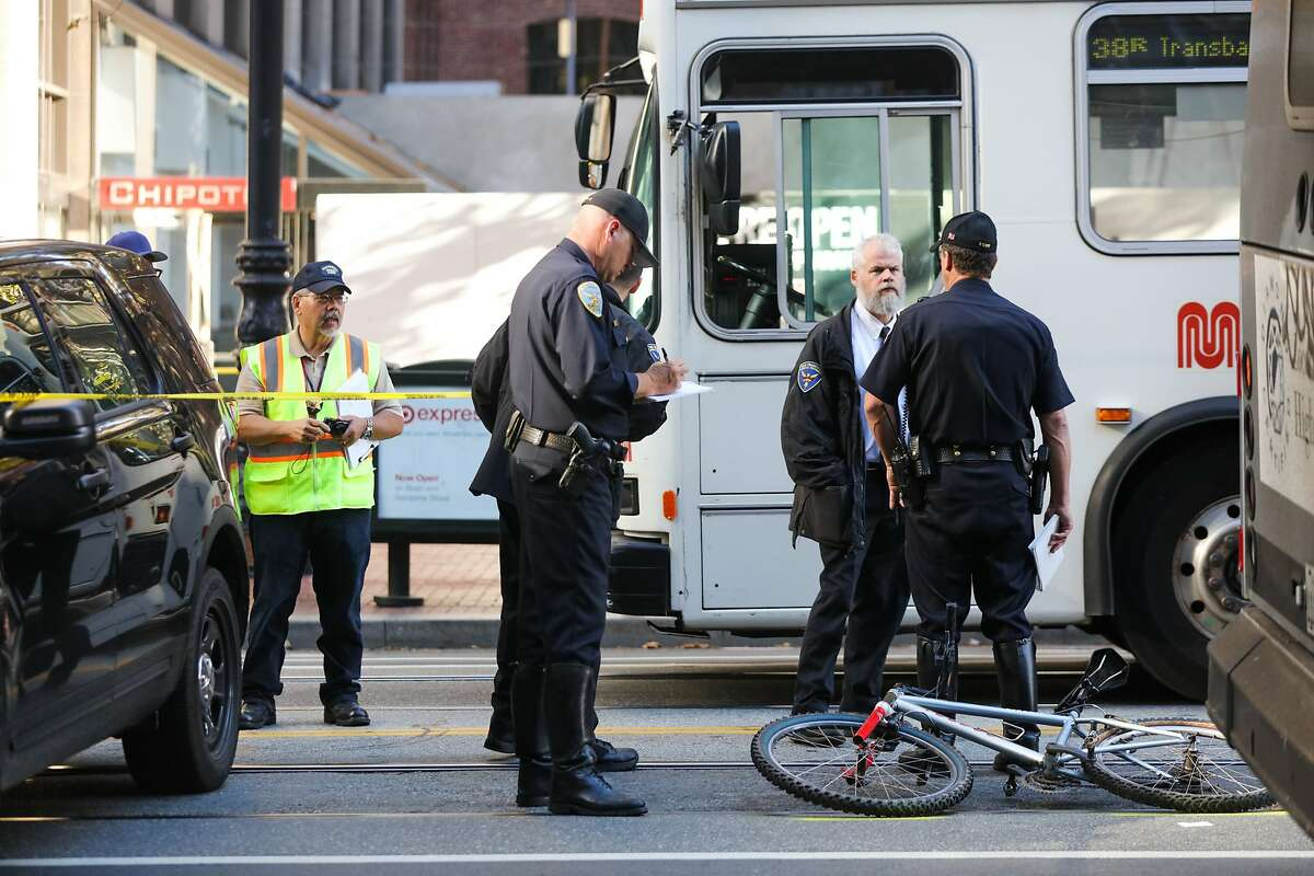 A bicyclist was struck and killed by a Muni bus on Market Street in San Francisco, California on Sunday, October 11, 2015.