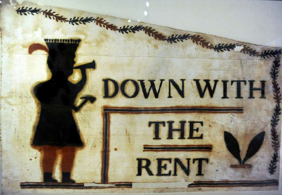 Rent War flag, on loan from the Grafton Library, on Wednesday, Sept. 30, 2015, at the Albany Institute of History and Art in Albany, N.Y. (Cindy Schultz / Times Union) Photo: Cindy Schultz / 00033536A