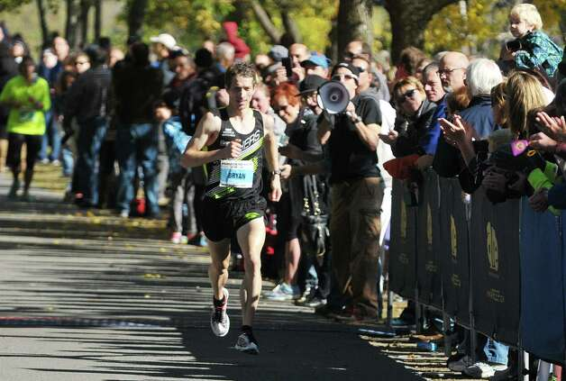 Bryan Morseman of Bath makes his way to a first place in the marathon portion of the Mohawk Hudson River Marathon and the Hannaford Half Marathon on Sunday, Oct. 11, 2015, in Albany, N.Y.  (Paul Buckowski / Times Union) Photo: PAUL BUCKOWSKI / 10033673A