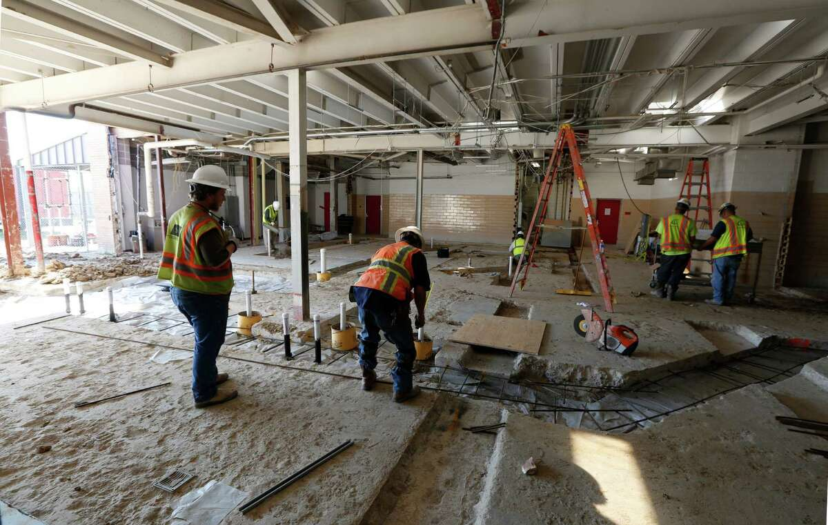 Construction continued in October at Waltrip High School, which is being remodeled as part of HISD's 2007 and 2012 voter-approved bond programs.