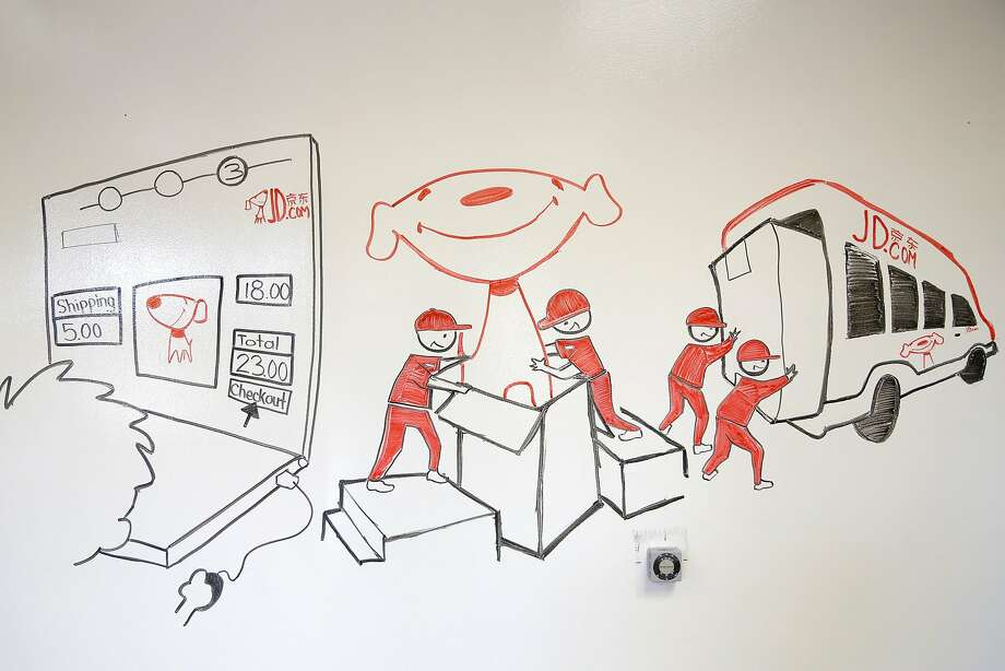 Marker drawings on the wall at the opening of JD.com's new headquarters in Santa Clara, California, on Sunday, Oct. 11, 2015. Photo: Connor Radnovich, The Chronicle