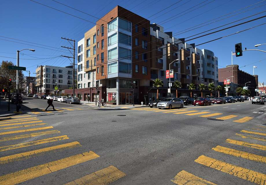 A newly constructed housing complex is seen on Mission street in San Francisco on October 12, 2015. Photo: Josh Edelson, JOSH EDELSON / SAN FRANCISCO CHR