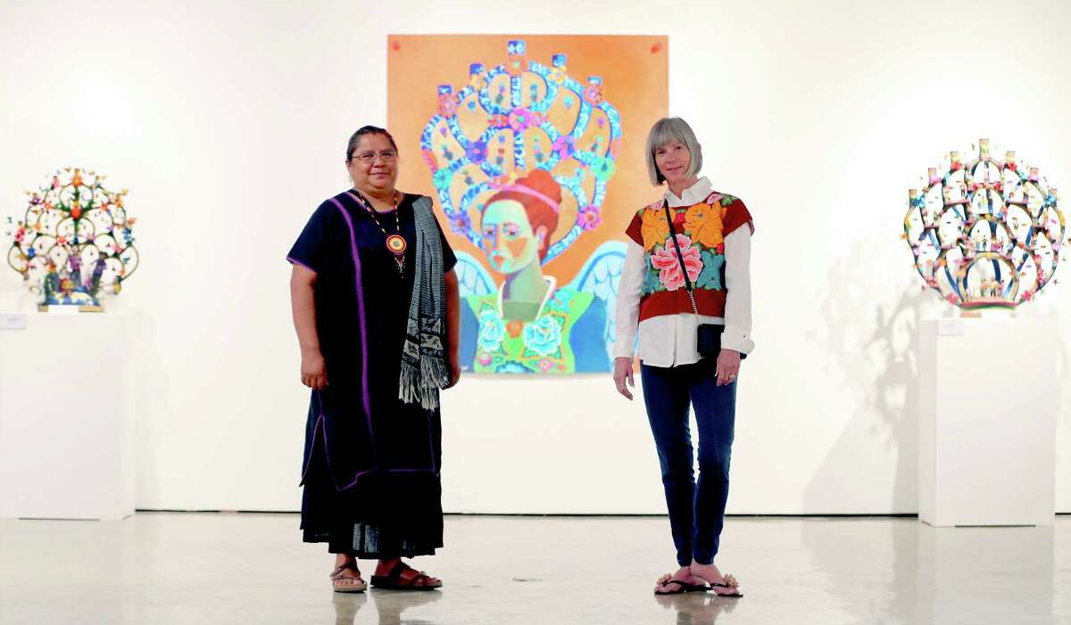 A new exhibit at the TAMU-SA Centro de Artes features ceramic works by Veronica Castillo (left), a folk artist who was awarded an NEA National Heritage Fellowship in 2013 and paintings and prints by Kathy Sosa.