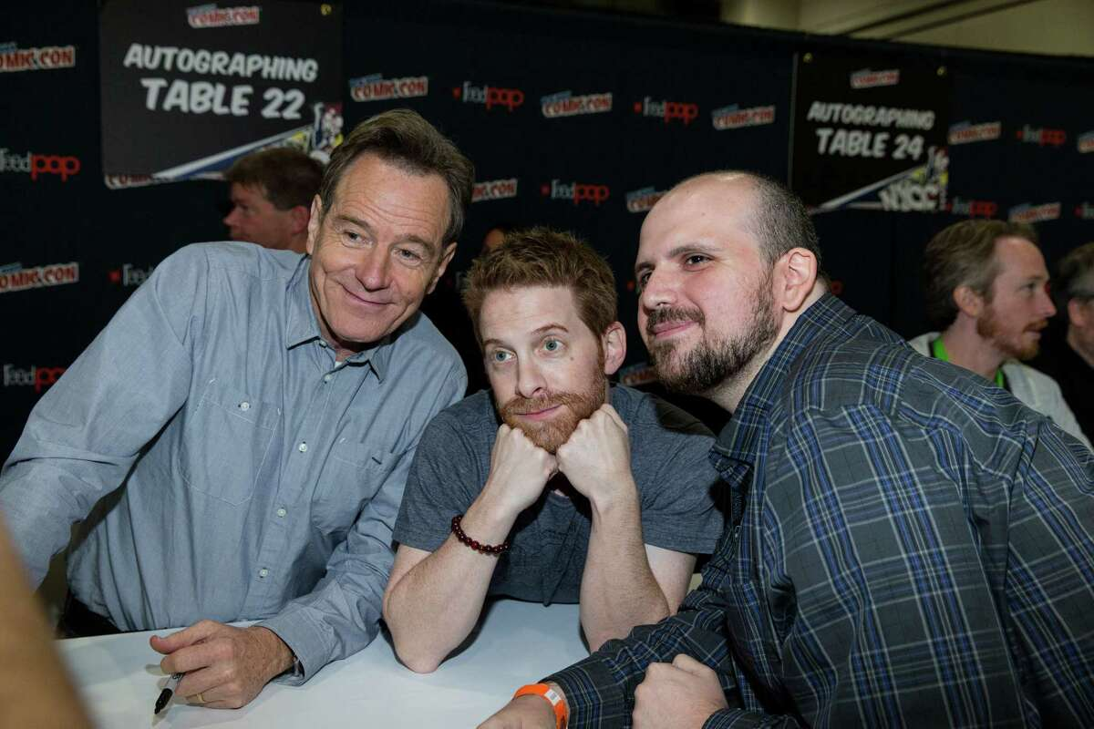 IMAGE DISTRIBUTED FOR CRACKLE - Bryan Cranston, left, and Seth Green are seen at the Crackle Super Mansion @ Comic Con NYC on Sunday, Oct. 11, 2015 in New York.