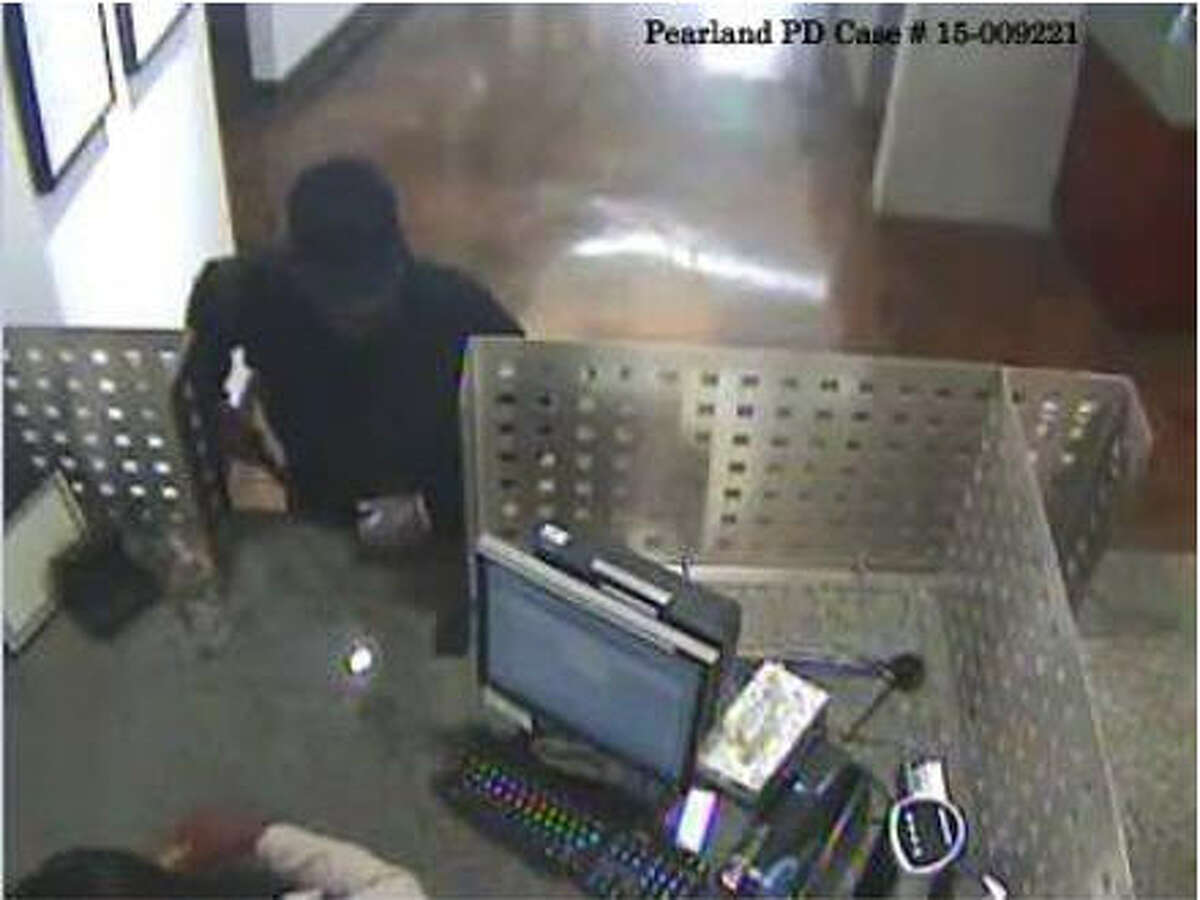 Authorities are searching for a man suspected in three bank robberies dating back to last year in Pearland.