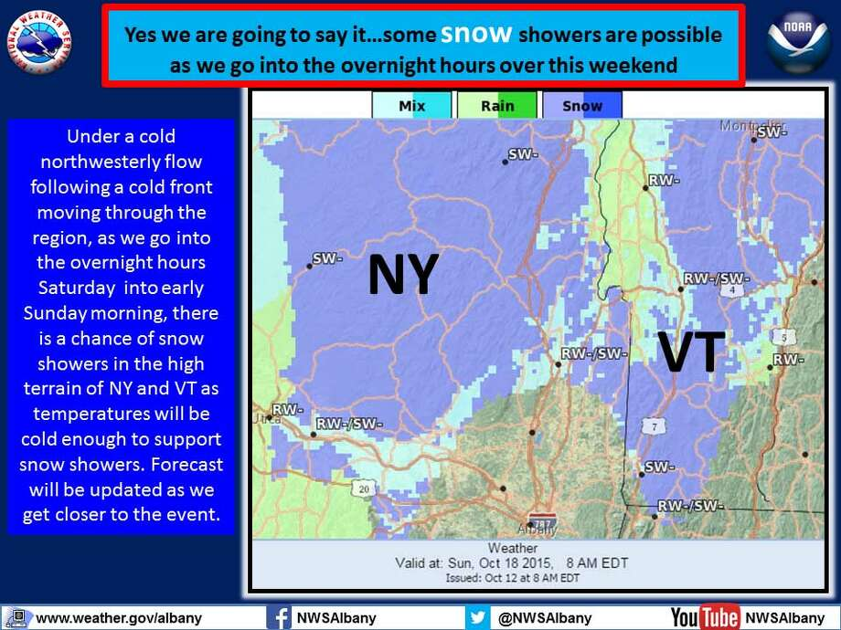 The National Weather Service in Albany says snow could move into areas of higher elevation to the north of Albany. (National Weather Service)